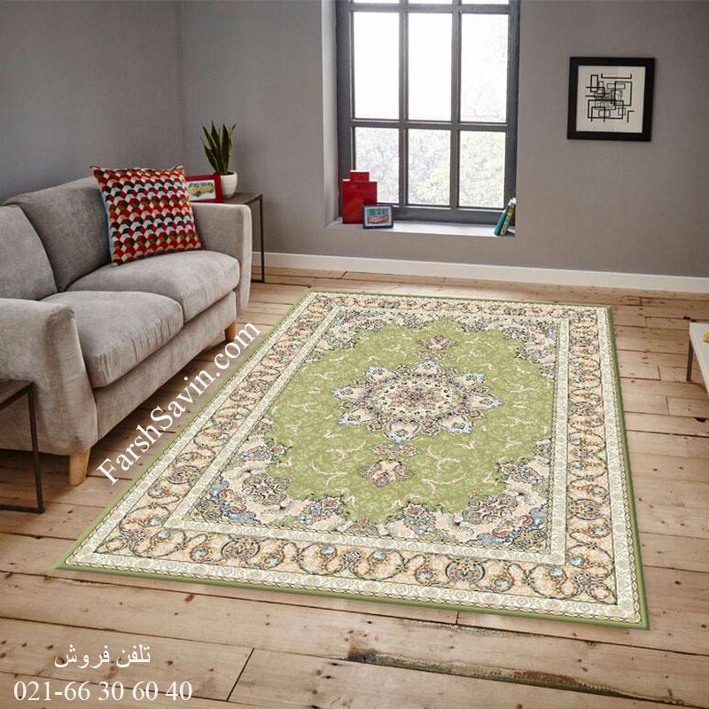 فرش ساوین 3000 سبز فرش خوش نقشه