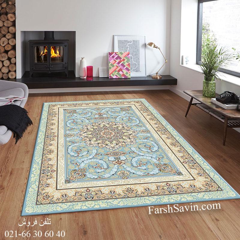 فرش ساوین 3001 آبی فرش خاص