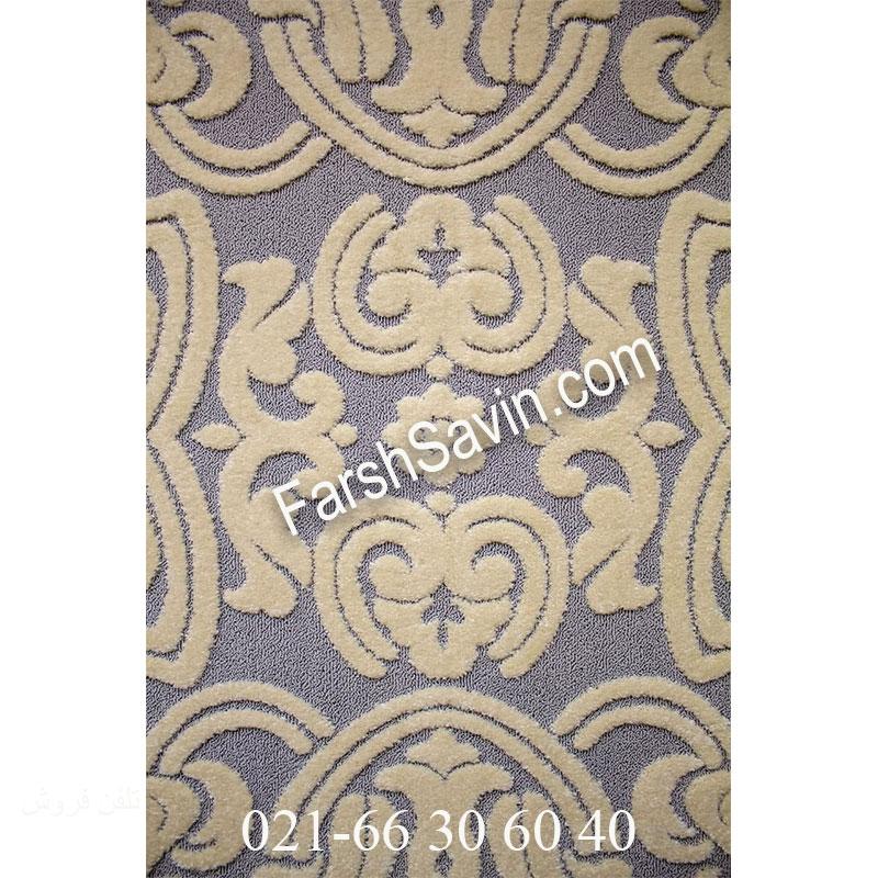 فرش ساوین 7410 نقره ای روشن فرش پرفروش