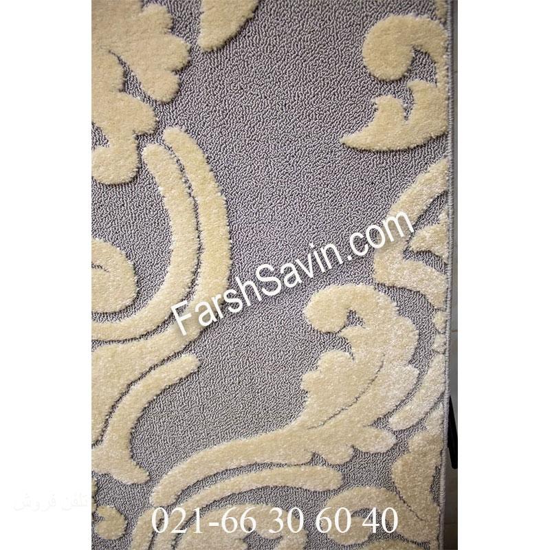 فرش ساوین 7410 نقره ای روشن فرش زیبا