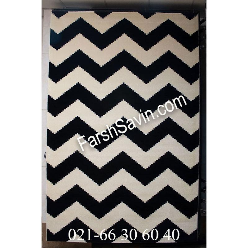 فرش ساوین 4019 سفید مشکی فرش زیبا