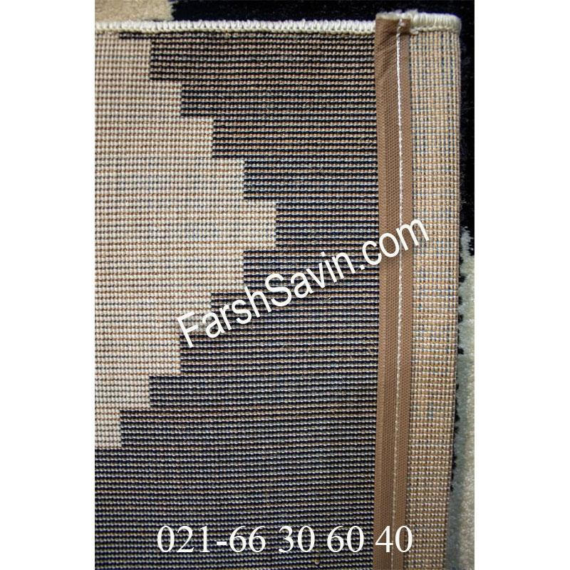 فرش ساوین 4019 سفید مشکی فرش ارزان