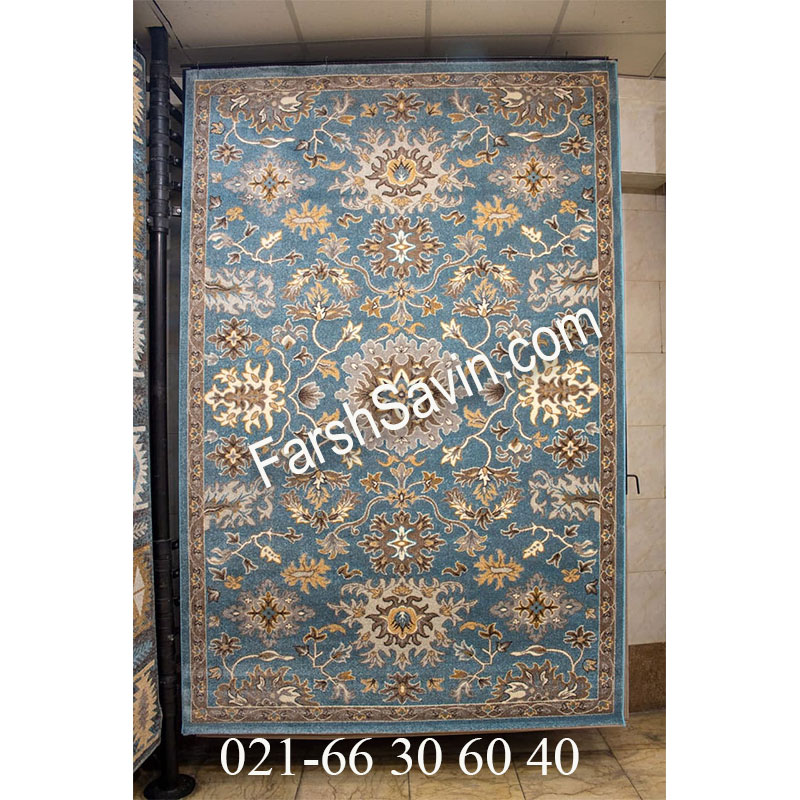 فرش ساوین 4041 آبی فرش پرفروش
