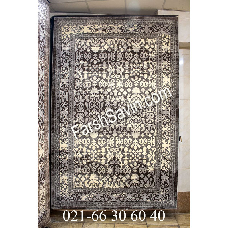 فرش ساوین 4068 طوسی فرش ارزان