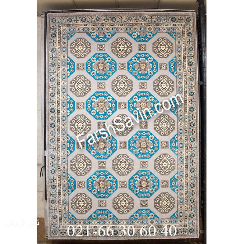 فرش ساوین 7400 نقره ای روشن فرش فانتزی