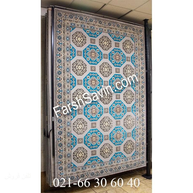 فرش ساوین 7400 نقره ای روشن فرش اتاق خواب
