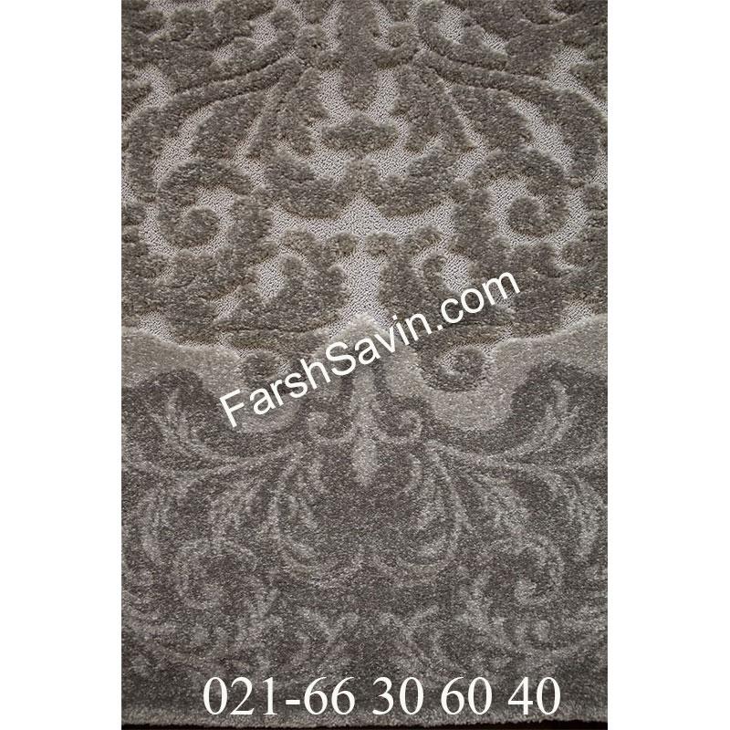 فرش ساوین 7401 نقره ای روشن فرش بادوام
