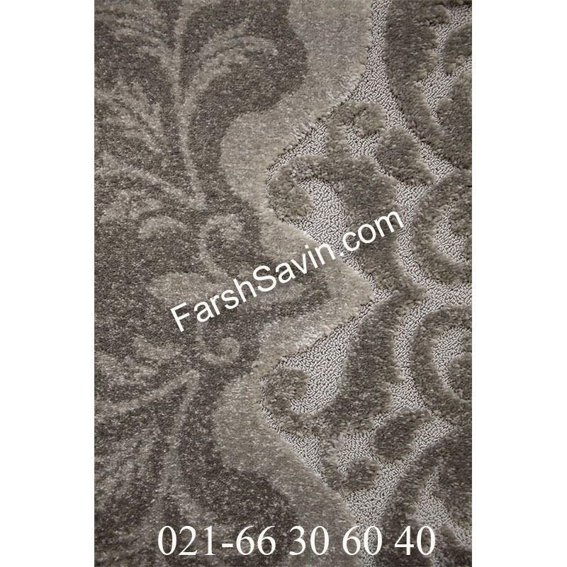 فرش ساوین 7401 نقره ای روشن فرش فانتزی