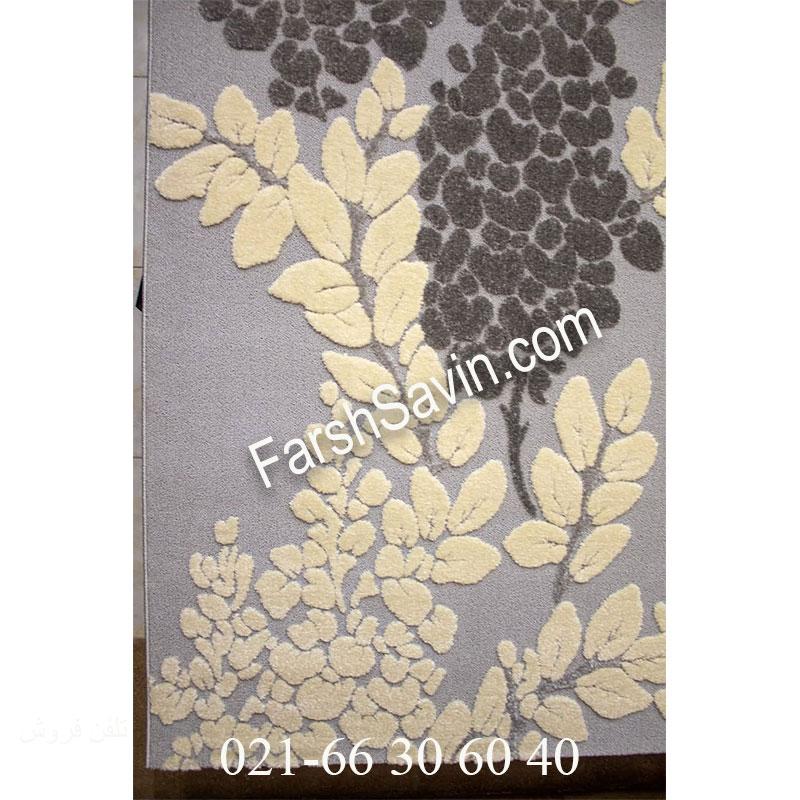 فرش ساوین 7402 نقره ای روشن فرش ارزان