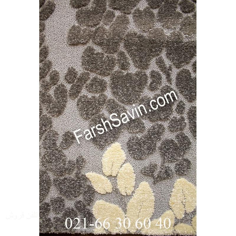 فرش ساوین 7402 نقره ای روشن فرش اتاق خواب