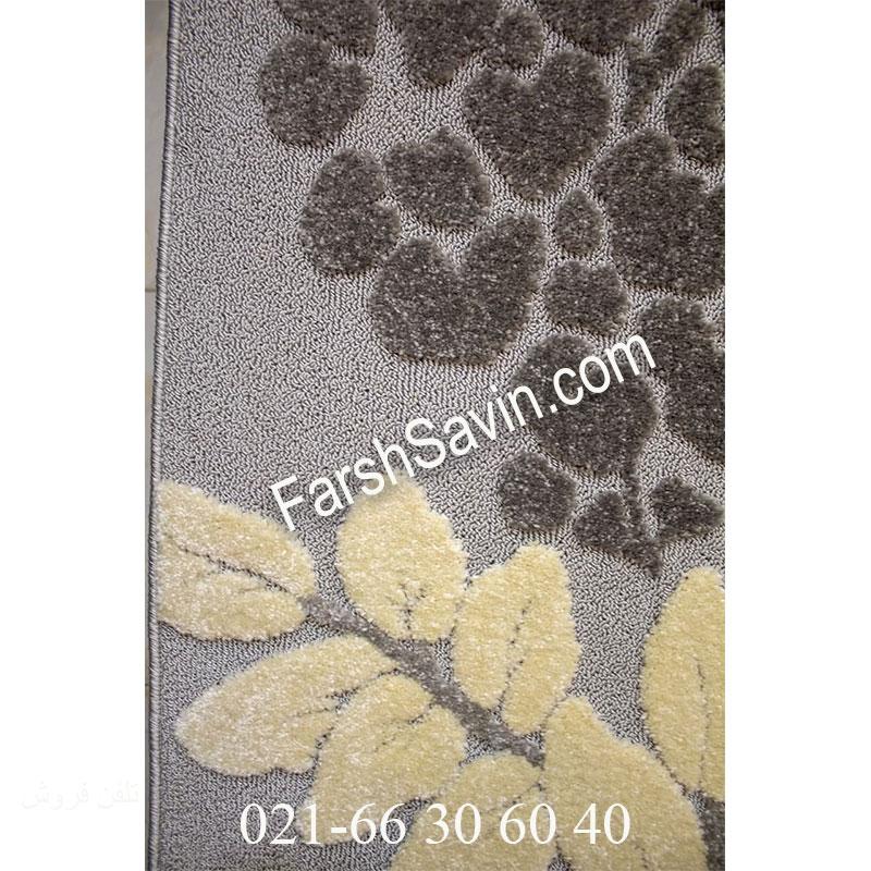 فرش ساوین 7402 نقره ای روشن فرش اصیل ایرانی