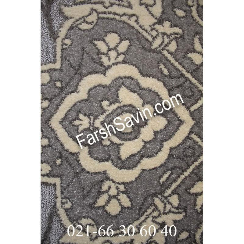 فرش ساوین 7403 نقره ای روشن فرش زیبا