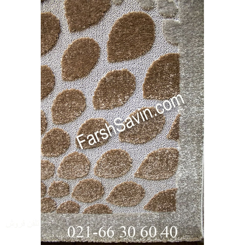 فرش ساوین 7404 نقره ای روشن فرش زیبا