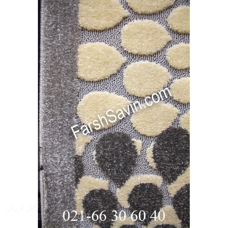 فرش ساوین 7404 نقره ای روشن فرش پرفروش