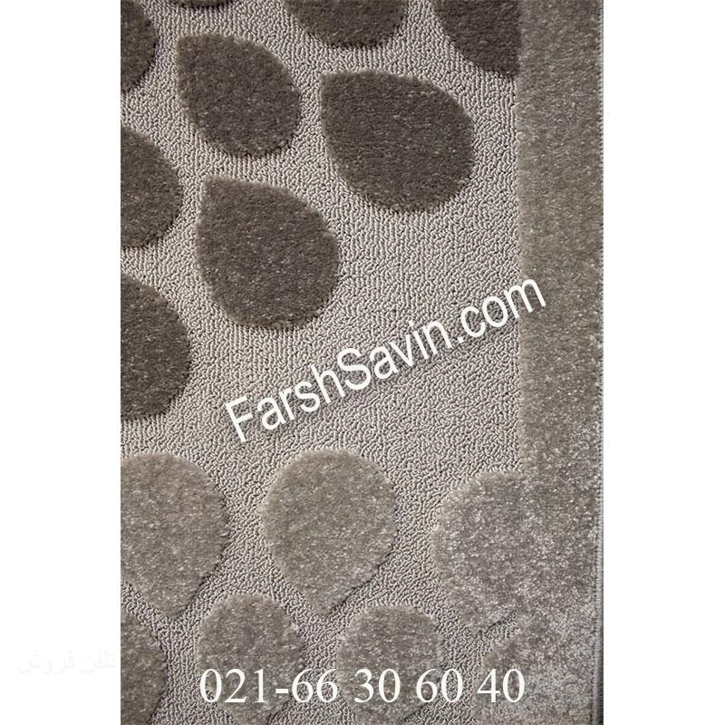 فرش ساوین 7404 نقره ای روشن فرش ارزنده