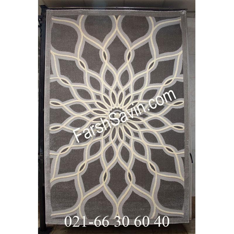 فرش ساوین 7405 نقره ای روشن فرش با کیفیت