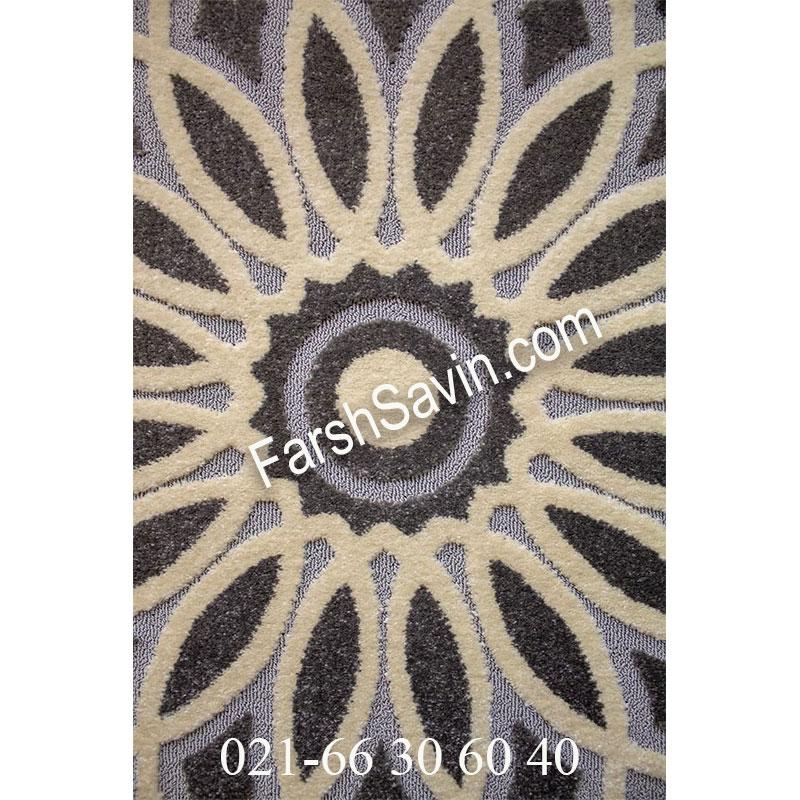 فرش ساوین 7405 نقره ای روشن فرش خاص