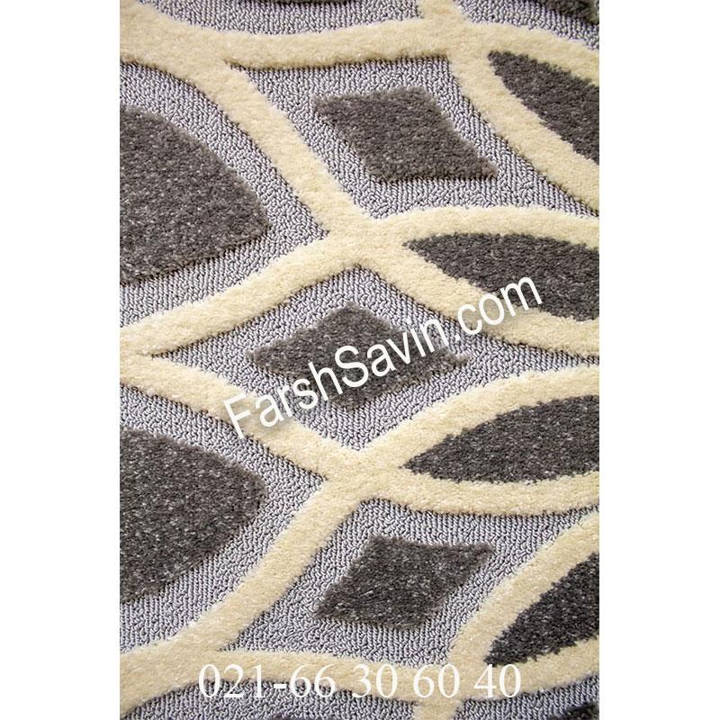 فرش ساوین 7405 نقره ای روشن فرش اتاق پذیرایی