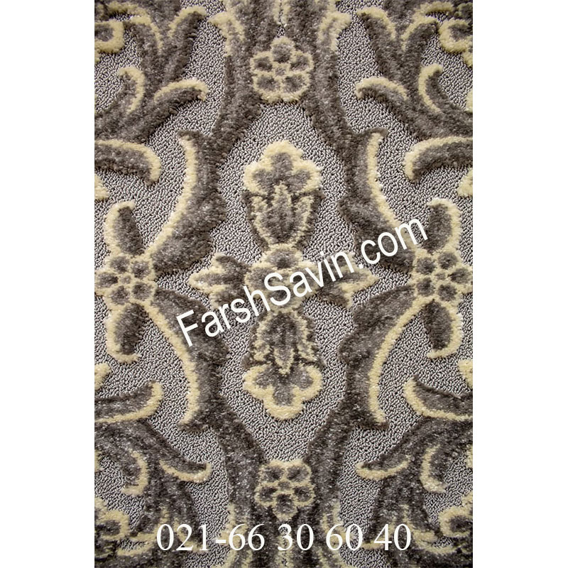 فرش ساوین 7406 نقره ای روشن فرش زیبا