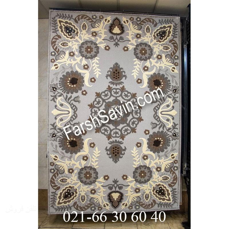 فرش ساوین 7407 نقره ای روشن فرش قیمت مناسب