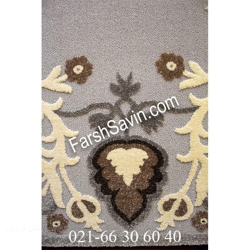 فرش ساوین 7407 نقره ای روشن فرش زیبا