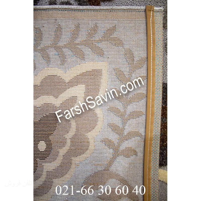 فرش ساوین 7407 نقره ای روشن فرش اتاق خواب
