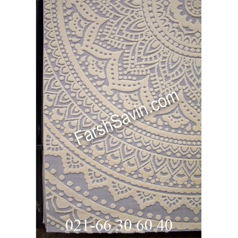 فرش ساوین 7408 نقره ای روشن فرش مدرن