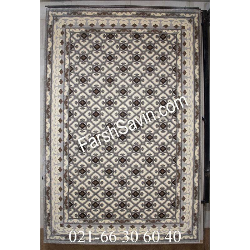 فرش ساوین 7409 نقره ای روشن فرش پرفروش