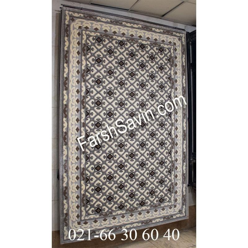 فرش ساوین 7409 نقره ای روشن فرش شیک