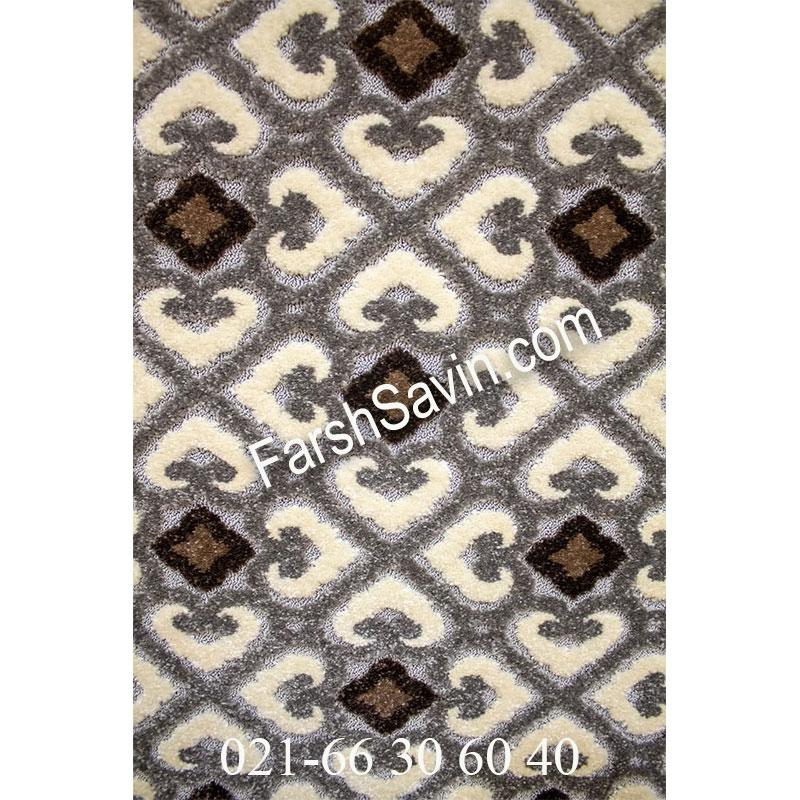 فرش ساوین 7409 نقره ای روشن فرش مدرن