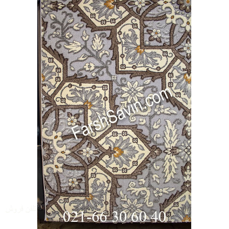 فرش ساوین 7411 نقره ای روشن فرش ارزان