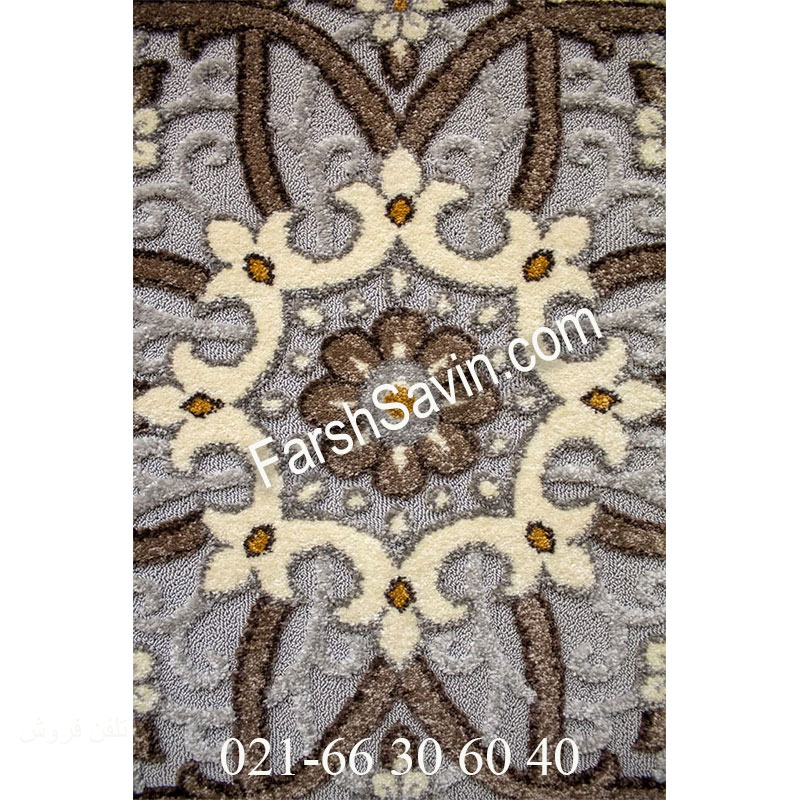 فرش ساوین 7411 نقره ای روشن فرش شیک