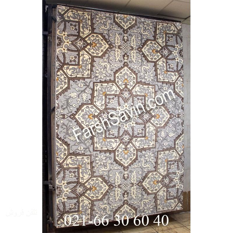 فرش ساوین 7411 نقره ای روشن فرش زیبا