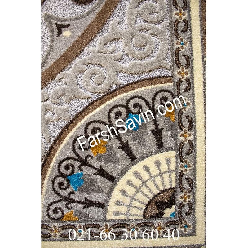 فرش ساوین 7418 نقره ای روشن فرش فانتزی