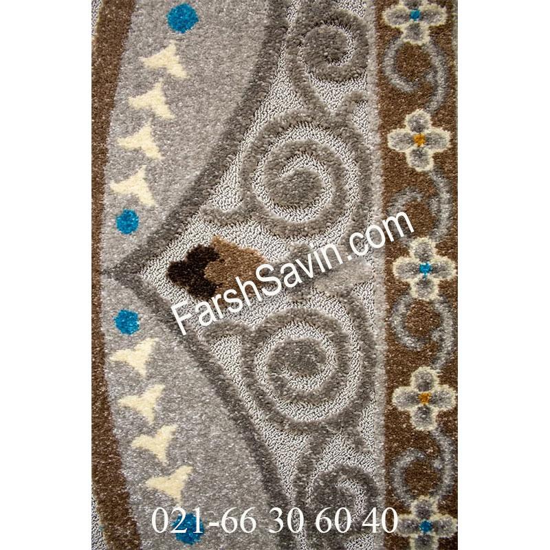 فرش ساوین 7418 نقره ای روشن فرش مدرن