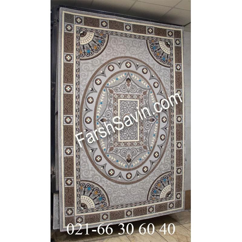 فرش ساوین 7418 نقره ای روشن فرش خاص