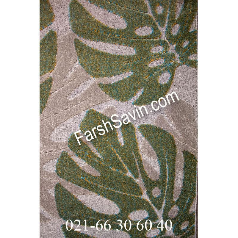 فرش ساوین 7420 نقره ای روشن فرش فانتزی