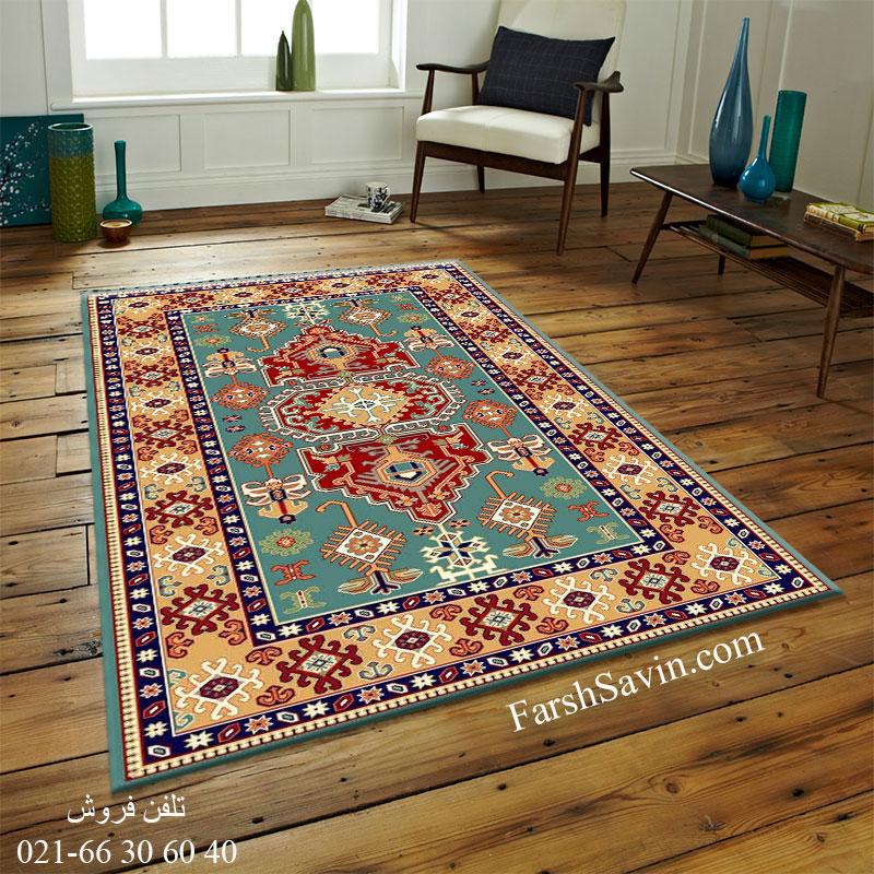 فرش ساوین طوبی 2 آبی فرش سنتی