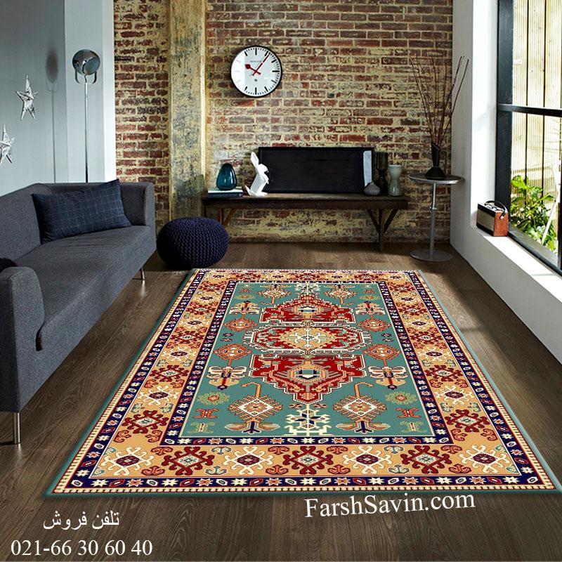 فرش ساوین طوبی 2 آبی فرش اتاق خواب