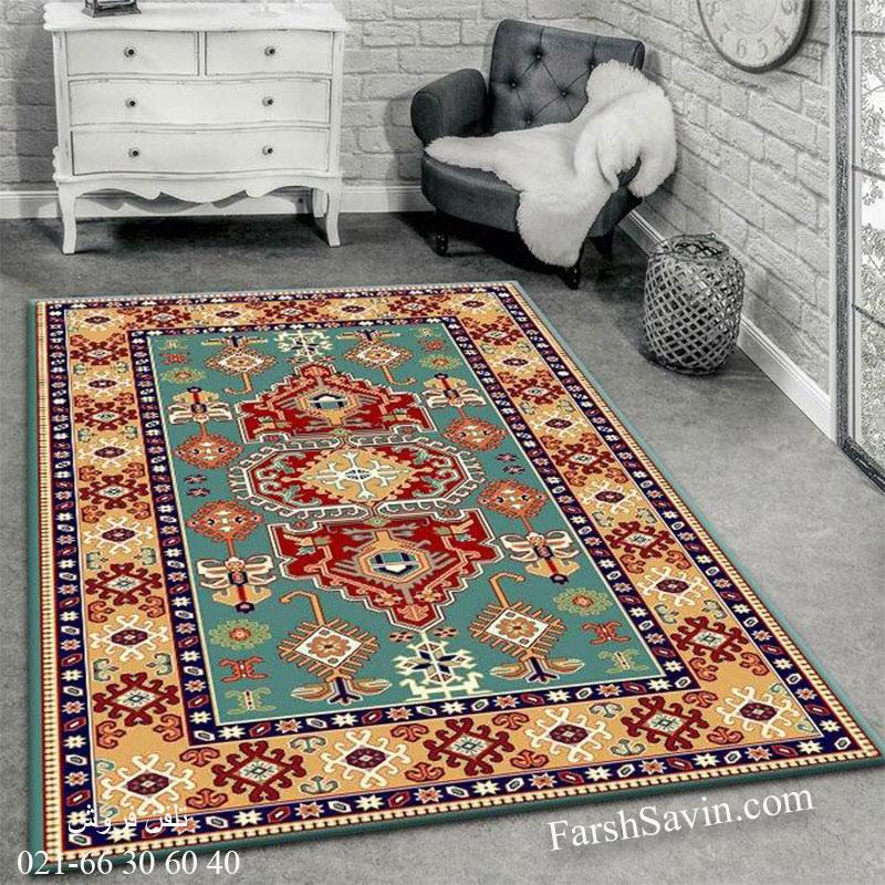 فرش ساوین طوبی 2 آبی فرش دستبافت گونه