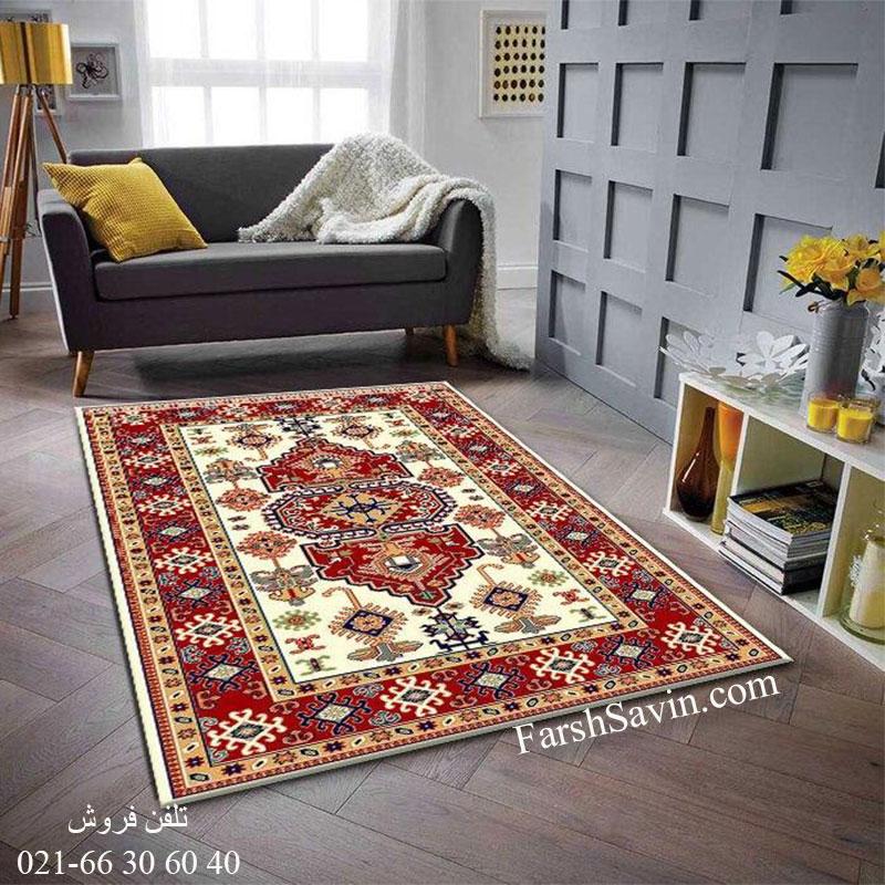 فرش ساوین طوبی 2 کرم فرش عشایری