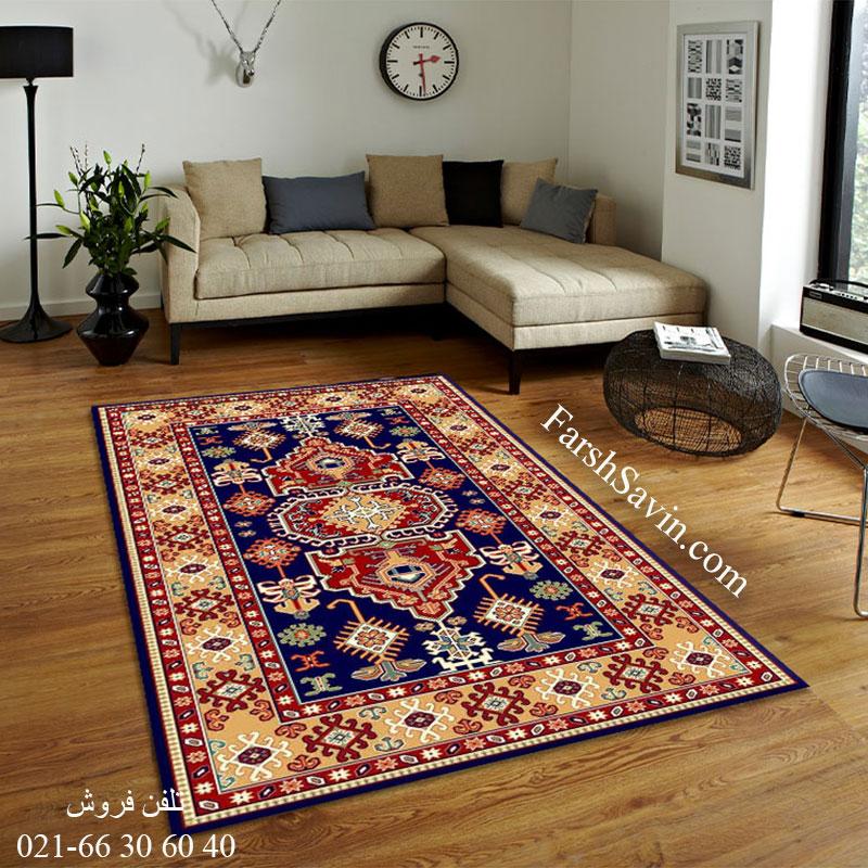 فرش ساوین طوبی 2 سرمه ای فرش با کیفیت