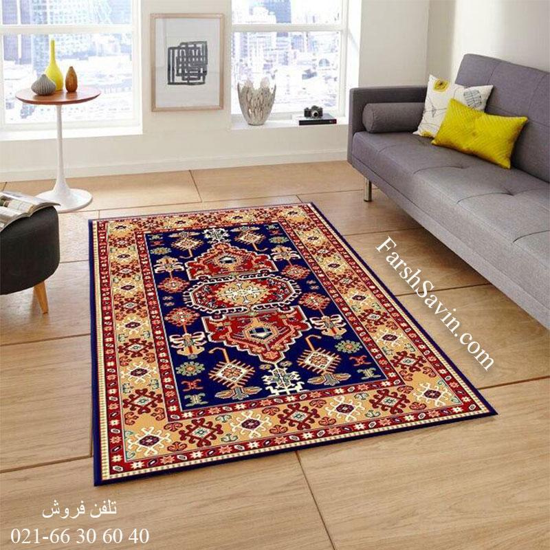 فرش ساوین طوبی 2 سرمه ای فرش سنتی