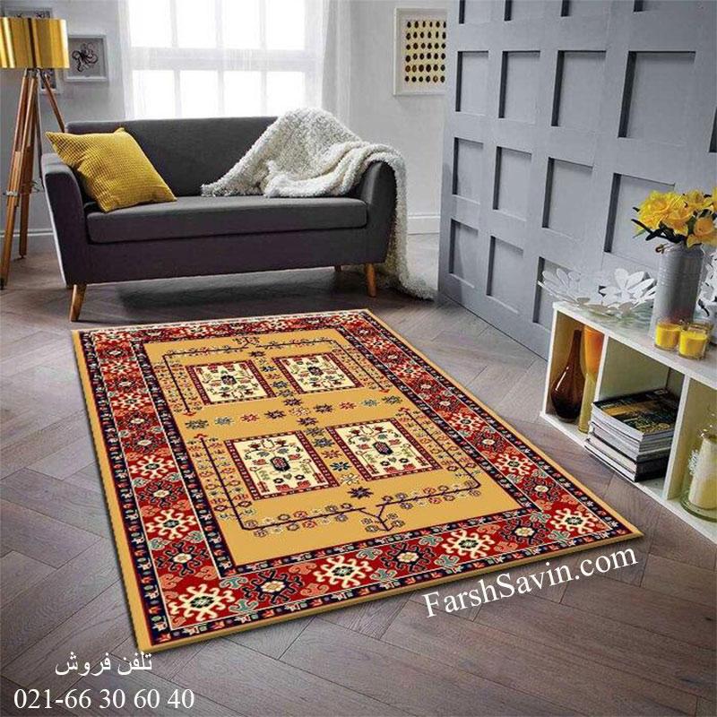 فرش ساوین قشقایی 2 عسلی فرش گبه