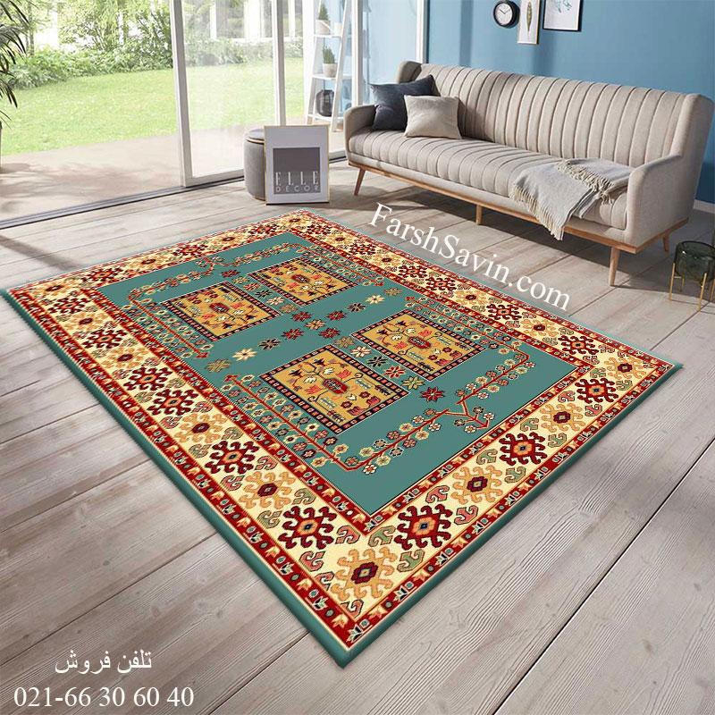 فرش ساوین قشقایی 2 آبی فرش روستایی
