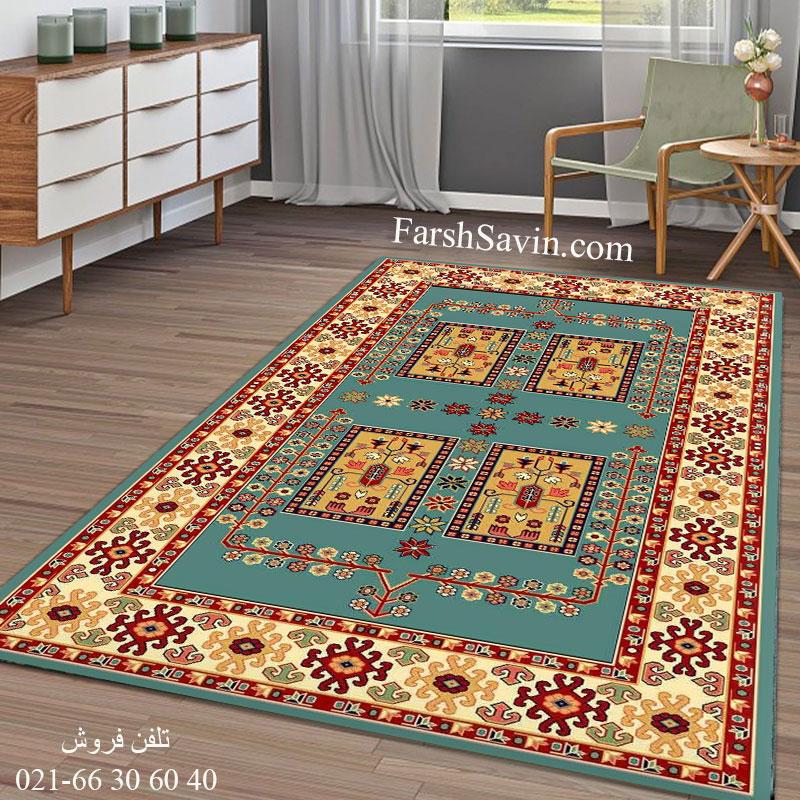 فرش ساوین قشقایی 2 آبی فرش عشایری