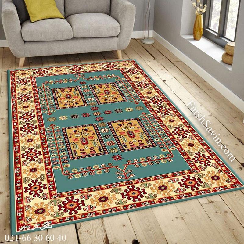 فرش ساوین قشقایی 2 آبی فرش گبه