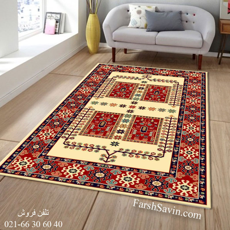 فرش ساوین قشقایی 2 کرم فرش مناسب اتاق خواب