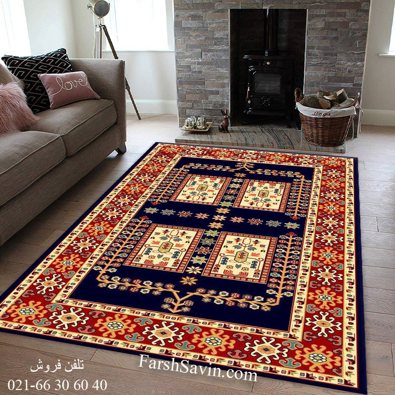 فرش ساوین قشقایی 2 سرمه ای فرش خاص