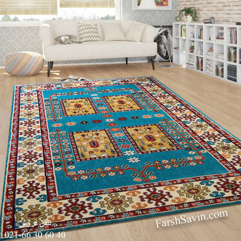 فرش ساوین قشقایی آبی فرش مدرن